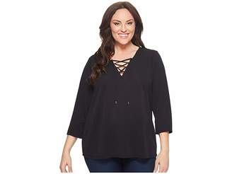Calvin Klein Plus Plus Size Three-Quarter Sleeve Lace-Up Top Women's Long Sleeve Pullover