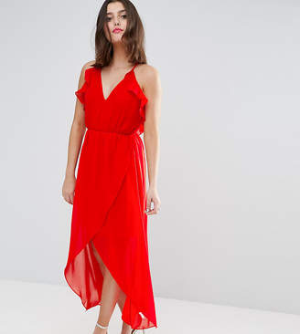 True Decadence TD By Petite Frill Detail High Low Midi Dress With Strappy Back