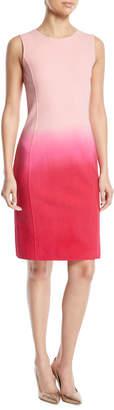 Oscar de la Renta Sleeveless Jewel-Neck Dip-Dye Ombre Sheath Dress