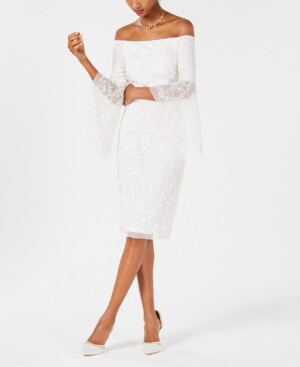 Adrianna Papell Off-The-Shoulder Beaded Dress