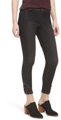 Zeza B High Waist Embellished Denim Skimmer Leggings
