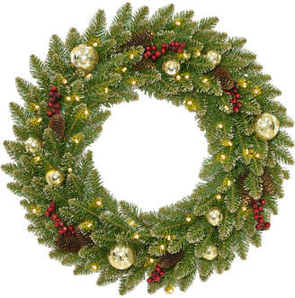Dunhill National Tree Company 24In Glittery Gold Fir Wreath With Red Berr
