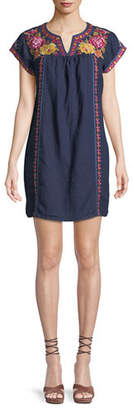 Johnny Was Vella V-Neck Embroidered Shift Dress, Plus Size