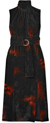 Altuzarra Ruffled Tie-dye Velvet Turtleneck Midi Dress - Orange
