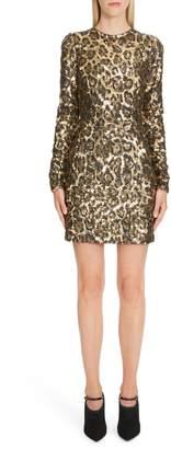 Dolce & Gabbana Sequin Leopard Print Sheath Dress