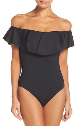 Women's Trina Turk Off The Shoulder One-Piece Swimsuit $128 thestylecure.com