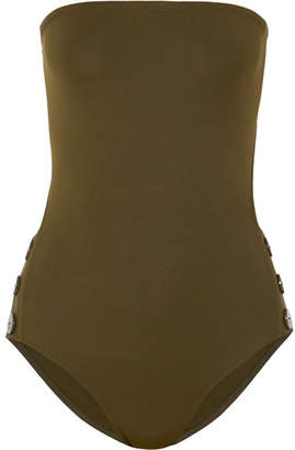 Eres Pop Epic Cutout Button-detailed Bandeau Swimsuit - Army green