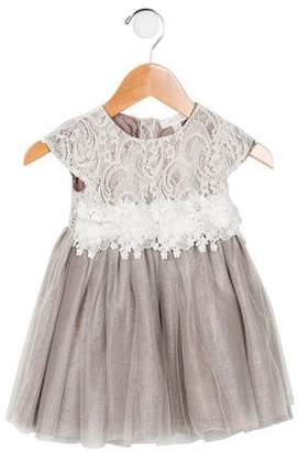 Miniclasix Girls' Lace-Accented Tulle Dress
