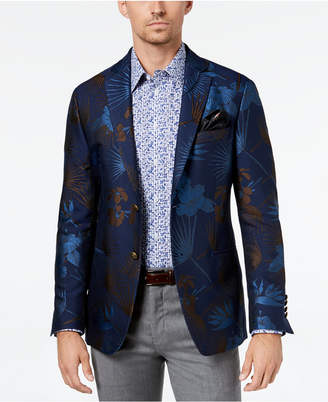 Tallia Men's Slim-Fit Navy/Brown Tropical Floral-Print Sport Coat