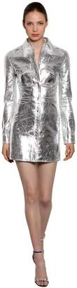Calvin Klein Metallic Leather Mini Shirt Dress