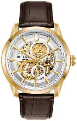 Bulova Men's Leather Band Skeleton Watch