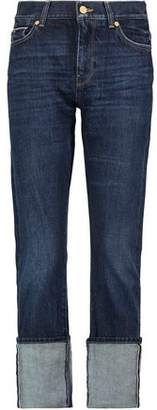 7 For All Mankind Roll Up Straight High-Rise Slim-Leg Jeans