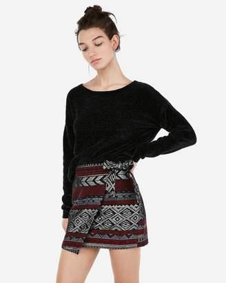 Express Petite Metallic Aztec Jacquard Wrap Mini Skirt