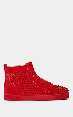 Christian Louboutin Men's Louis Crystal-Spike Suede Sneakers - Red
