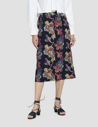 Tibi Paisley Printed Pull-On Skirt