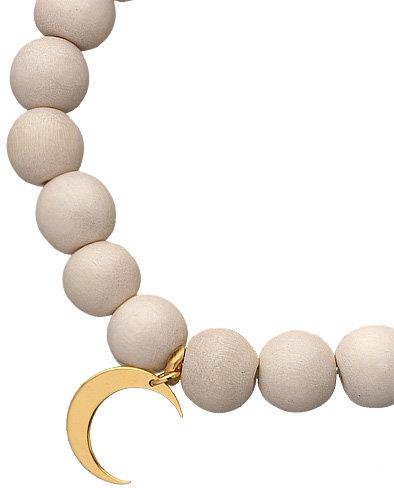 Jennifer Zeuner Moon White Wood Beaded Bracelet