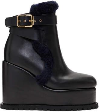 Sacai Black Shearling Wedge Boots