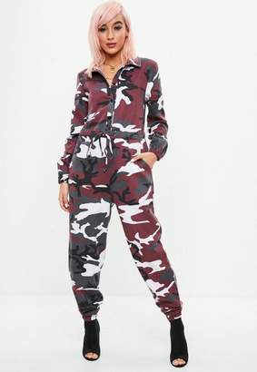 Missguided Red Camo Boiler Jumpsuit, Multi