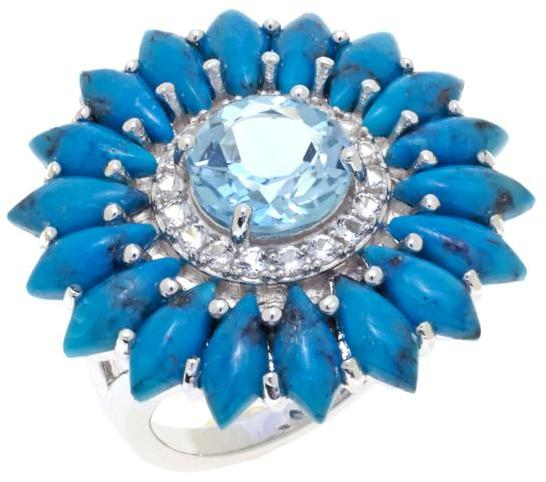 "Colleen Lopez ""Daylight Blossom"" Turquoise, Sky Blue Topaz and White Topaz Flower-Shaped Sterling Silver Ring"