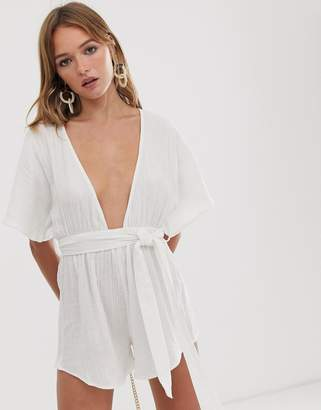 Asos Design DESIGN beach playsuit with lattice back in natural crinkle fabric