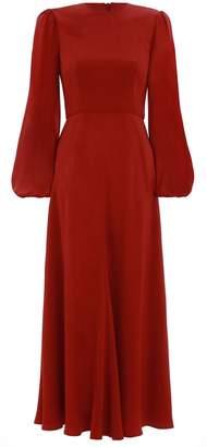 Zimmermann Blouson Sleeve Midi Dress in Terracotta