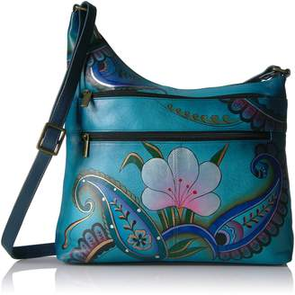 Anuschka Anna by Handpainted Leather Assymetric Crossbody, Denim Paisley Floral, DPF