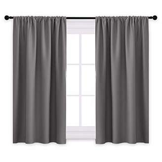 PONY DANCE Grey Blackout Curtains - Rod Pocket Drapes Thermal Insulated Panels Home Décor Window Treatments Draperies for Bedroom