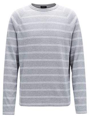 HUGO BOSS Striped long-sleeved T-shirt in brushed single-jersey cotton