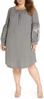 Caslon Embroidered Puff Sleeve Gingham Shift Dress (Plus Size)
