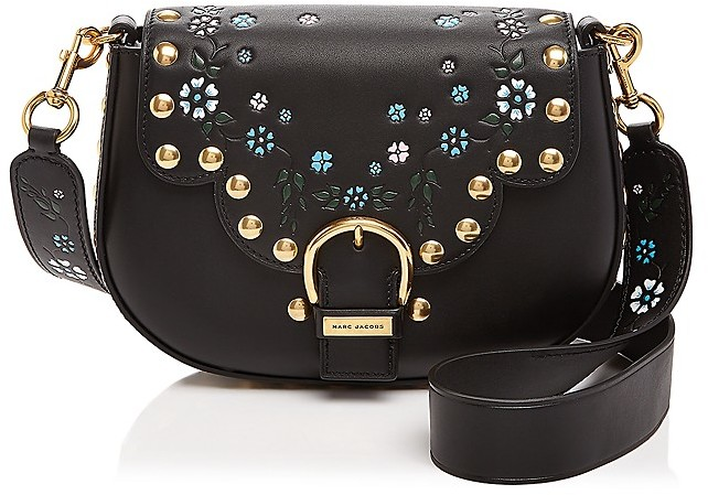 Marc JacobsMARC JACOBS Stud Floral Leather Saddle Bag