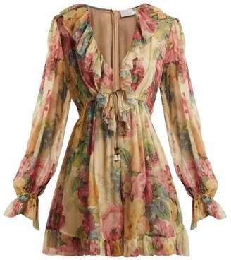 Zimmermann - Melody Floating Floral Print Silk Playsuit - Womens - Beige Multi