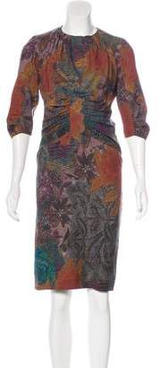 Etro Floral Print Wool Dress