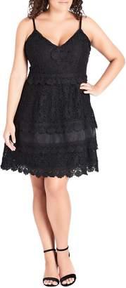 City Chic Nouveau Cotton Blend Lace Fit & Flare Dress