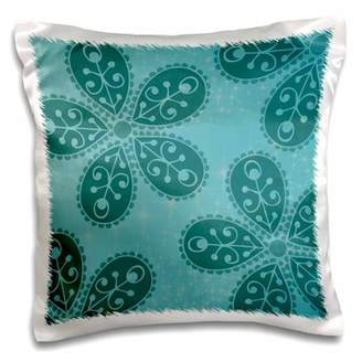 3dRose Teal Boho Flowers bohemian hippi chic, Pillow Case, 16 by 16-inch