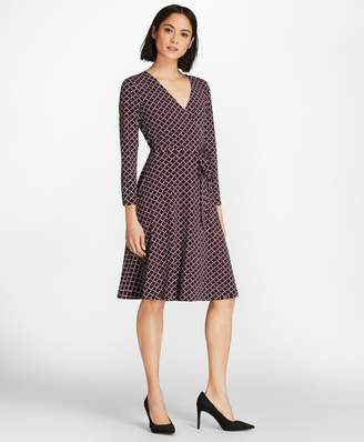 Brooks Brothers Lattice-Print Jersey Faux-Wrap Dress