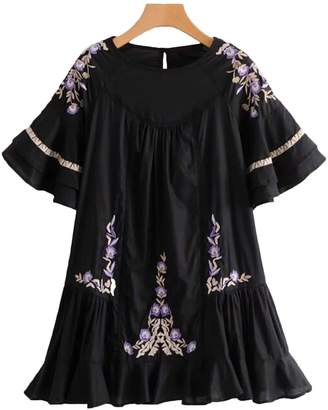 Goodnight Macaroon 'Juliette' Embroidered Floral Pattern Ruffle Mini Dress (2 Colors)