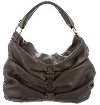 Salvatore Ferragamo Leather Pleated Hobo