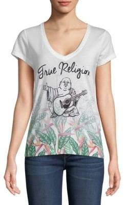 True Religion Tropical Paradise Deep V-Neck Tee