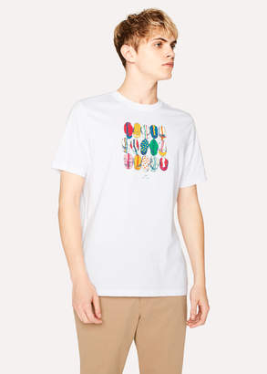 Paul Smith Men's White 'Cycling Caps' Print Organic-Cotton T-Shirt