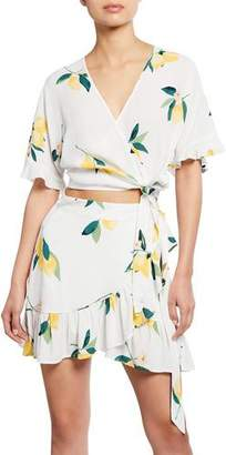 Rails Athena Lemon-Print Wrap Crop Top