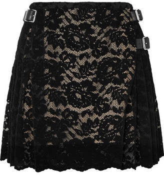 Christopher Kane Pleated Flocked Lace Mini Skirt - Black
