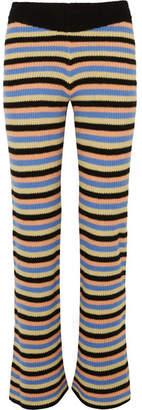 The Elder Statesman Striped Cashmere Flared Pants - Black