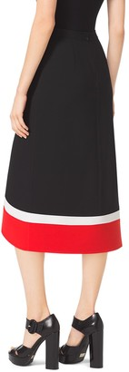 Michael Kors Color-Block Double-Face Wool-Crepe Midi Skirt
