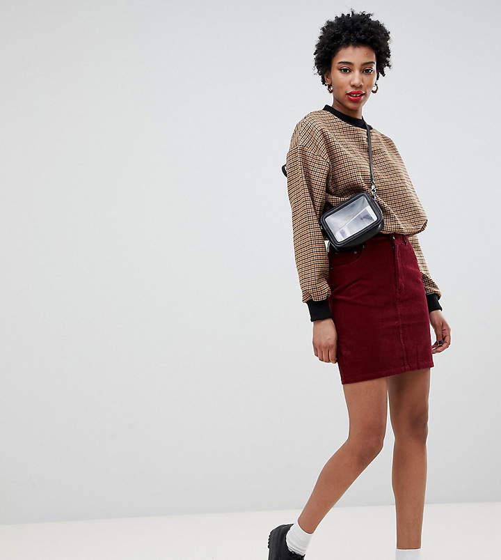 ASOS Tall ASOS DESIGN Tall cord original skirt in berry