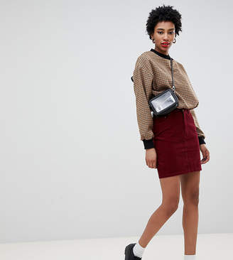 Asos Tall DESIGN Tall cord original skirt in berry