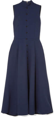 Emilia Wickstead Pleated Wool-crepe Dress - Navy