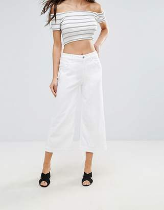 7 For All Mankind Cropped Flared White Jeans