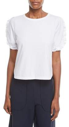 See by Chloe Frill-Sleeve Crewneck Cotton Tee