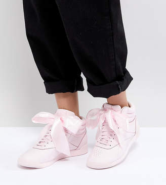 Reebok Classic Freestyle Hi Satin Bow Sneakers In Pink