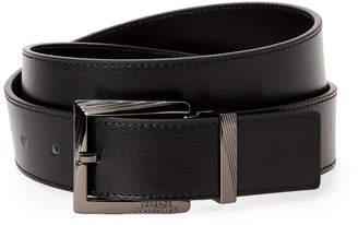 Versace Logo Square Buckle Leather Belt